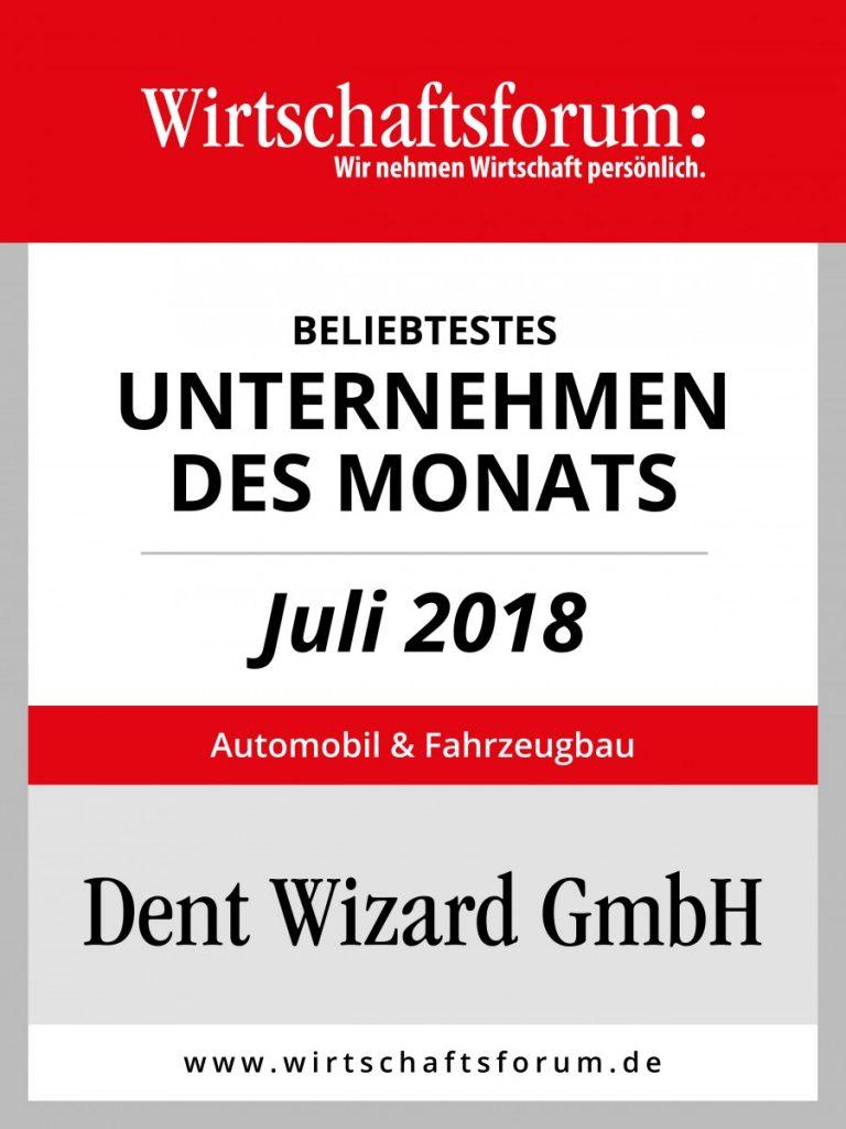 Dent Wizard als Unternehmen des Monats gekürt.